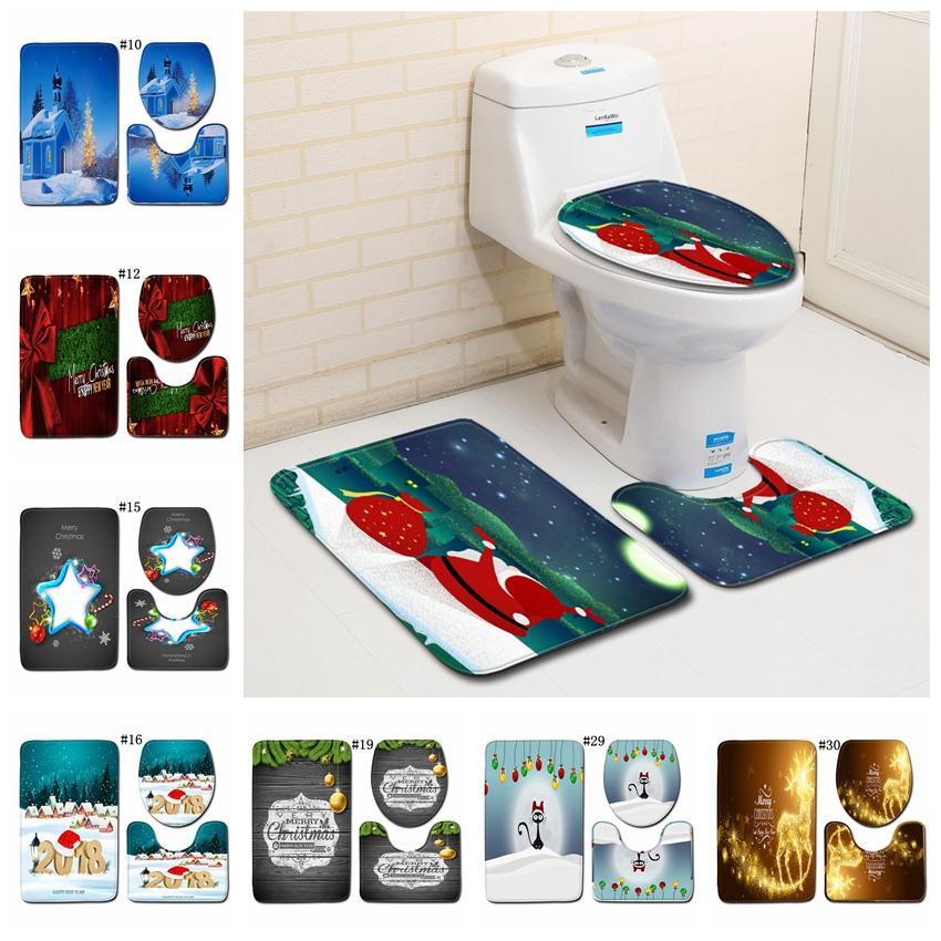 2019 Christmas Toilet Mat Set Bathroom Carpet Toilet Lid Cover
