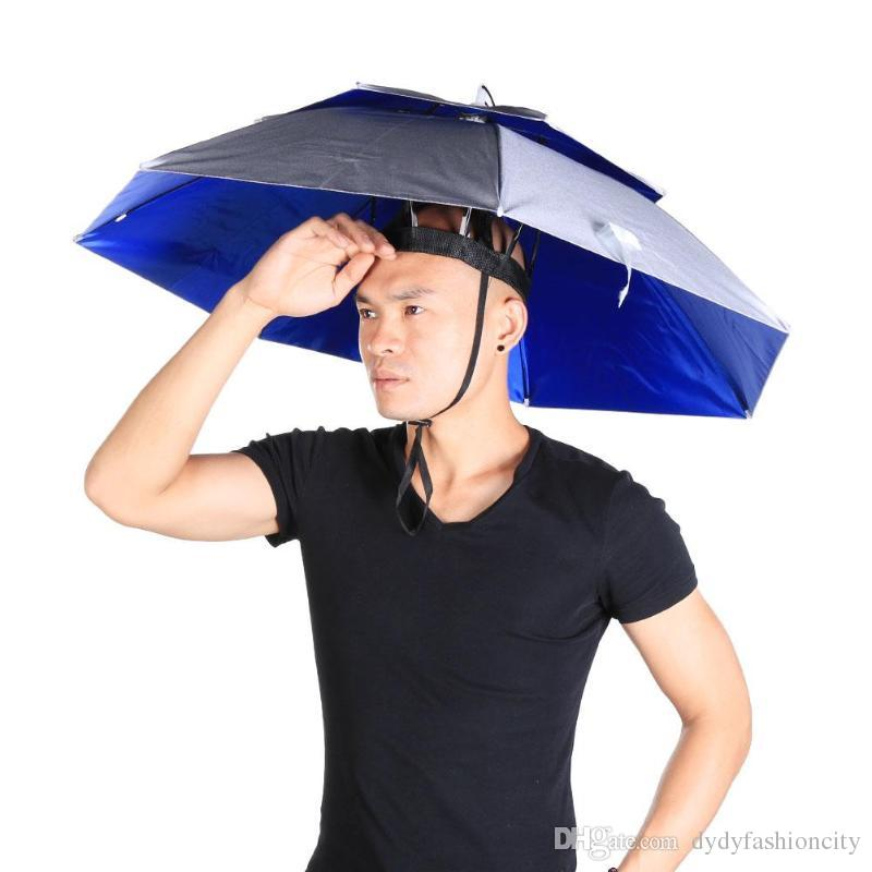 8d15f2dae30d4 2019 New Outdoor Large Double Layer Fishing Umbrella Hat Cycling Hiking  Camping Beach Sunshade Sunny Rainy Anti UV Cap For Men Women Kids From ...