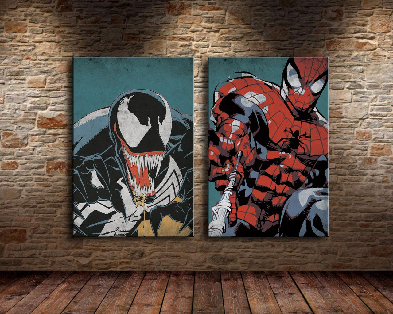 Spiderman and venom2 pieces canvas prints wall art oil painting home decor unframed framed