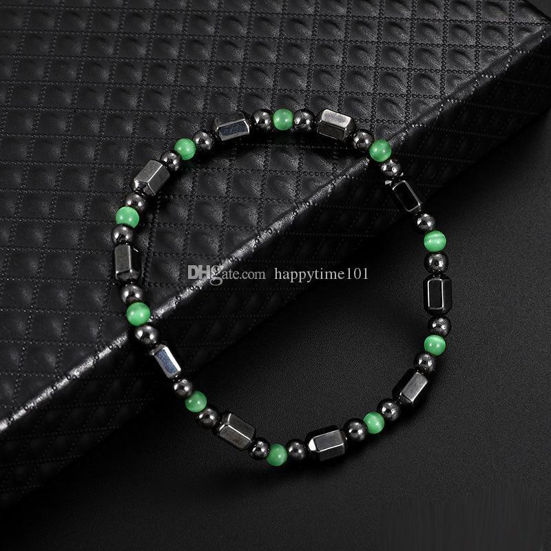 Magnétique Noir Gallstone Bracelet Mode De Guérison Naturel Hématite Perles Élasticité Corde Bracelets Pour Femmes Homme Bijoux
