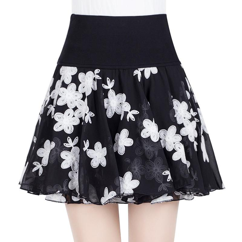 4b056b38b 2019 Spring Summer Thin High Waist Chiffon Skirt Women Plus Size Floral  Short Mini Skirt Jupe Femme Women Black Pleated C4684 From Jingju, $32.03 |  DHgate.