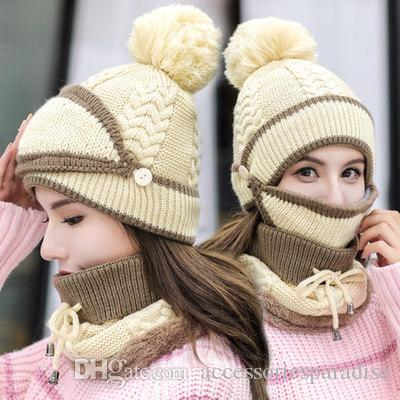 5c3e56cdc7d 2019 Hat Female Autumn And Winter Korean Version Of The Tide Thick Warm Wool  Hat Windproof Collar Wild Winter Cycling Earmuffs Knitted Hat From ...