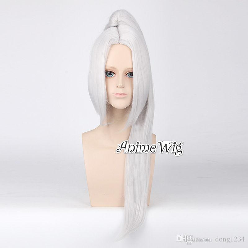 Anime Long Silver White Women Straight Party Hair Cosplay Wig+80CM  Ponytails Black Wig With Bangs Lace Front Synthetic Wigs With Baby Hair  From Dong1234 378cc446a