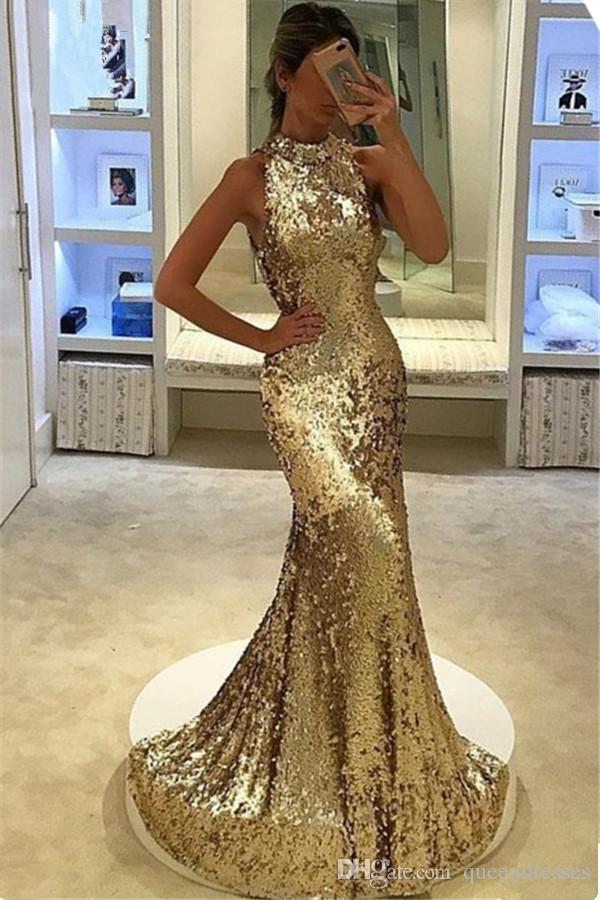 Bling Bling Gold Silver Sequins Long Prom Dresses Mermaid Evening Gowns  Jewel Cap Sleeve Floor Length Formal Women Pageant Party Dresses One Shoulder  Prom ... 020ea91422f1