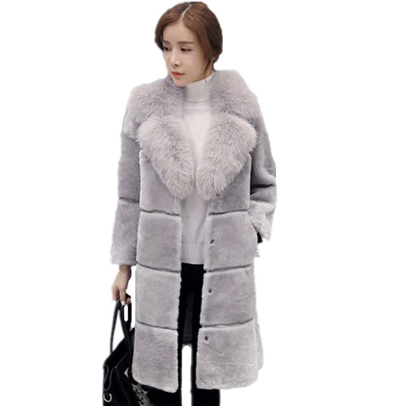2016 المرأة فو الفراء معطف المرأة طويلة تصميم الشتاء الدافئ أبلى معطف الإناث معطف الفرو معطف الشتاء النساء