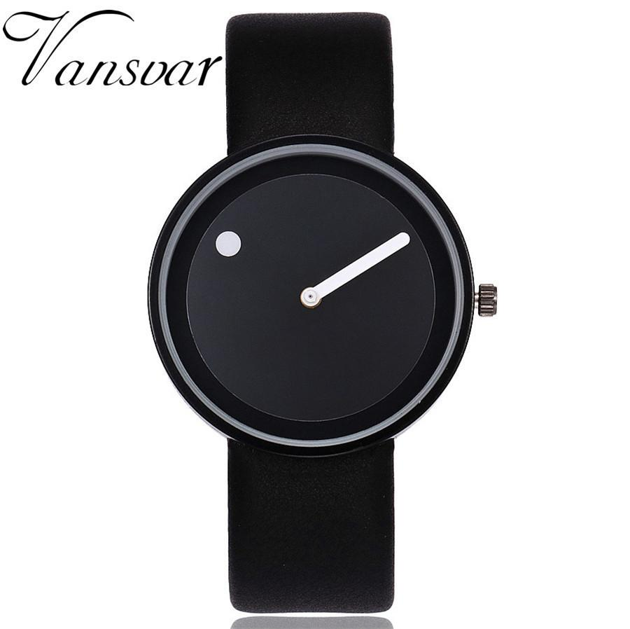 Vansvar Brand Minimalist Style Wristwatches Creative Men Women Design Dot and Line Simple Face Quartz Watches Gift Clock