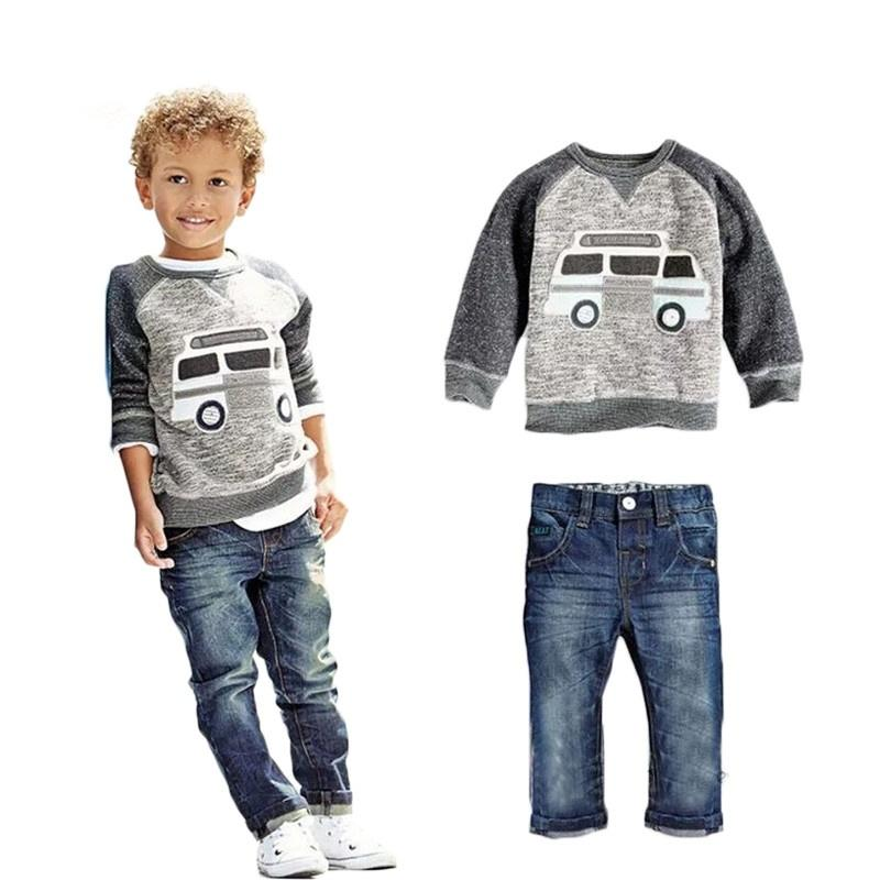 b20477010 Kids Boys Long Sleeve Pullover Shirt + Jeans Denim Trousers Spring Kids  Clothes Casual Boys Clothing Set