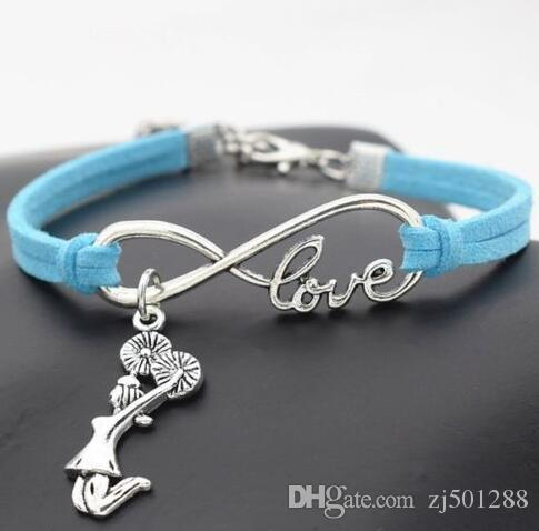 Vintage Silver Love Infinity Cheerleader Cheer Charm Bracelet Bangle For Women Mixed Color Velvet Rope Bracelet Jewelry Accessories