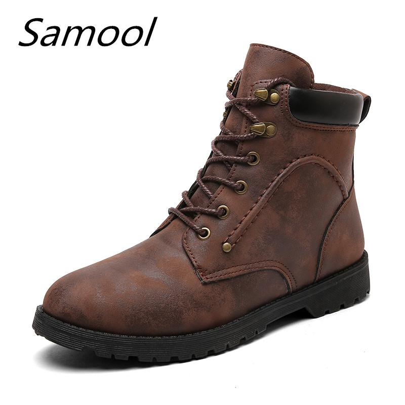 male Ankle Boots Warm Winter Snow boots Men's Vintage Style Men high quality mid -top Lace Up Men Shoes zapatos hombre xxz5