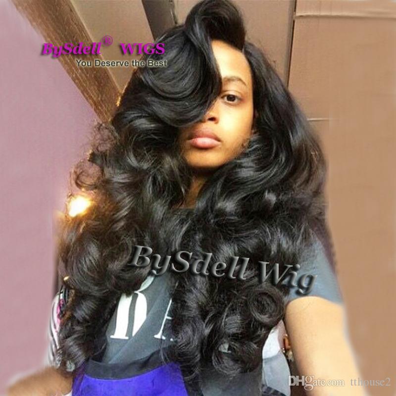 Magnífica peluca de pelo negro sintetico sin encaje / peluca de frente del frente Parte lateral Big Bang pelucas de pelo de la onda del cuerpo para mujeres negras