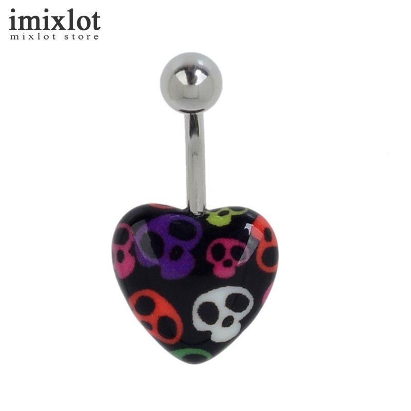 Imixlot Love Heart Belly Button Rings Leopard Zebra Skull Pattern Stainless Steel Barbell Navel Piercing Sexy Body Jewelry