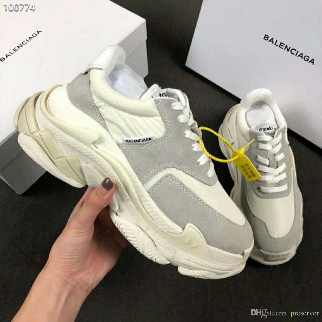 ddd70d43a4db Fashion Paris 17FW Triple S Sneakers Distressed Fashion Casual Luxury Dad  Shoes Men And Women Sports Breathable Mesh Running Shoes Cool Shoes Naot  Shoes ...