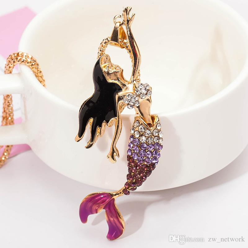 HEIßER Luxus Emaille Kristall halskette Mode Böhmischen Langen Pullover kette blink Meerjungfrau Halsketten Anhänger mit Strass Für Frauen