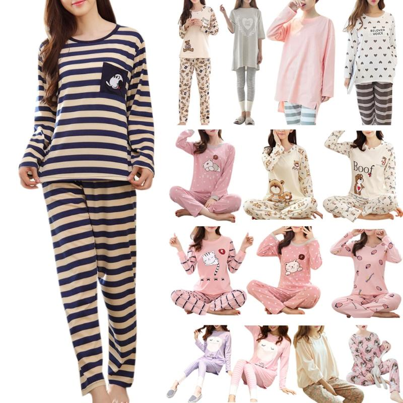 bb73f99cf1 2019 Womens Long Sleeve Pajamas Set Cartoon Print Sleepwear Home Clothing  Autumn Cute From Stepheen