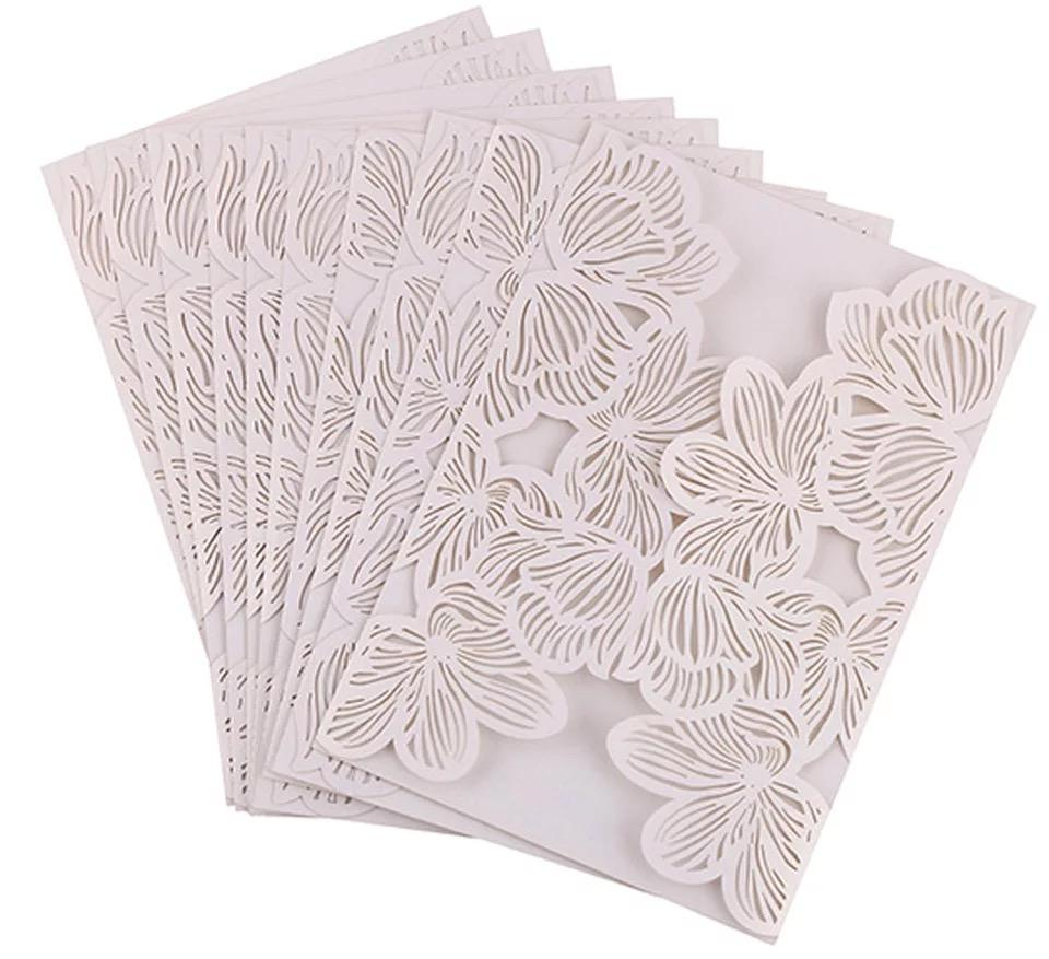Laser Cut White Paper Wedding Invitation Card Cover Hollow Paper ...