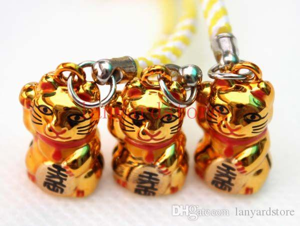 Chaud! Deux style de couleur Un chat d'or Fortune Chat Téléphone portable Charme couleur Strap Porte-clés Mixte Petite Cloche Charme livraison gratuite