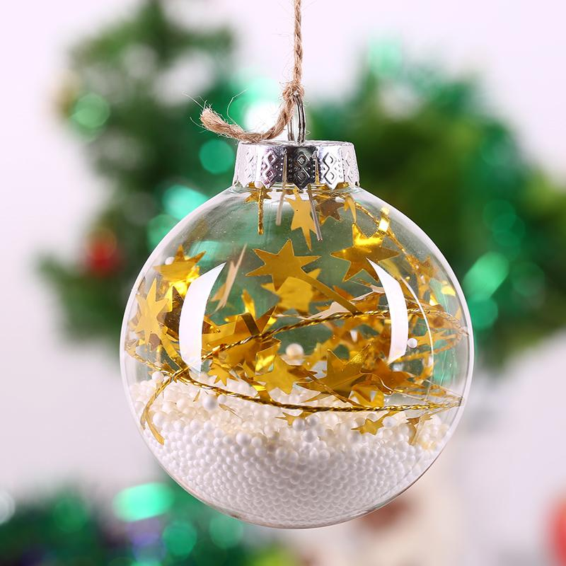 Christmas Glass Ball Tree Decoration Gold Star String White Foam Wedding Party Ornament Necessary Decor Diy Fillable 8cm
