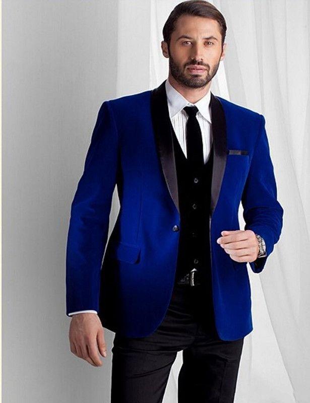 Nueva moda Royal Blue Velvet Men trajes de boda mantón de solapa Novios Tuxedos por encargo trajes para hombre para la fiesta de la boda Chaqueta + chaleco + pantalones