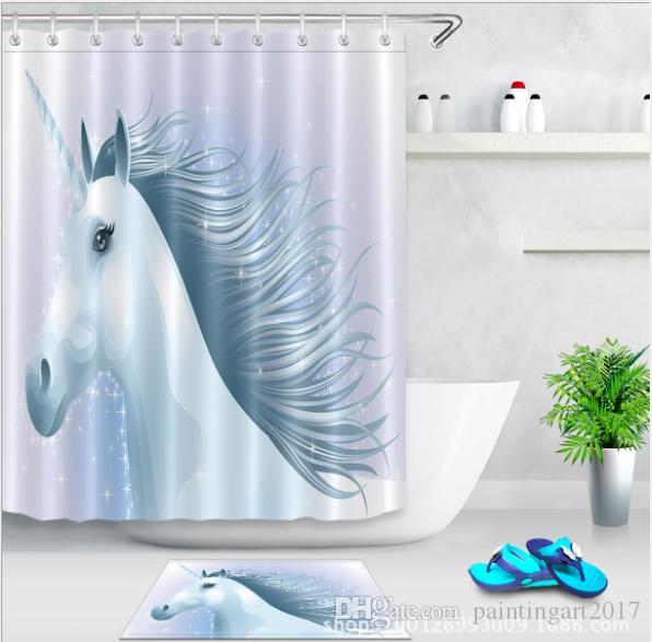 2019 3D Polyester Fabric White Horse Shower Curtains With 12 Hooks For Bathroom Decor Modern Bath Waterproof Curtain Floor Mats Sets From Paintingart2017