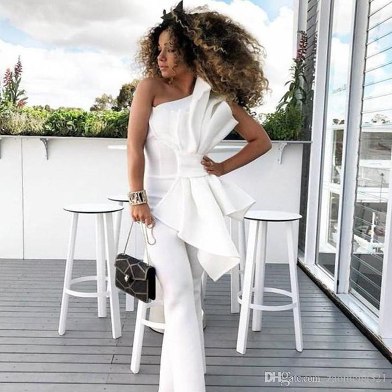 f5714e027c .Vintage One Shoulder White Women Jumpsuit Prom Dresses With Big Bow Formal  Party Evening Gowns Custom Made Special Occasion Dress Prom Dress Shopping  Prom ...