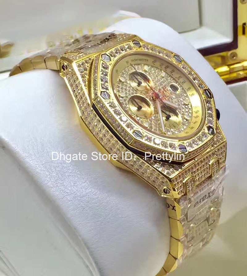 Grosshandel Iced Out Luxus Voller Diamanten Rose Gold Uhr Herren