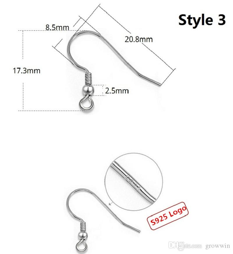 Hot Sterling 925 Silver Earring Sterling Silver Ear Hook Accessories Gold Plated Sterling Silver Accessories Fish Hook Fit Earrings D0123