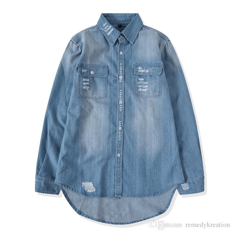 974db027b43 2019 Long Sleeve High Low Tunic Denim Shirt Men  Damaged Ripped Hole  Vintage Denim Shirt Man Lengthen Distressed Jeans Shirt Women From  Remedykreation