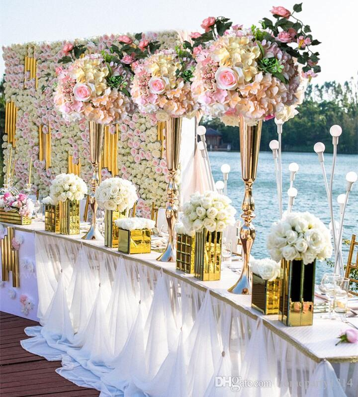 2019 Royal Gold Silver Tall big Flower Vase Wedding Table Centerpieces Decor Party Road Lead Flower Holder Metal Flower Rack For DIY Event