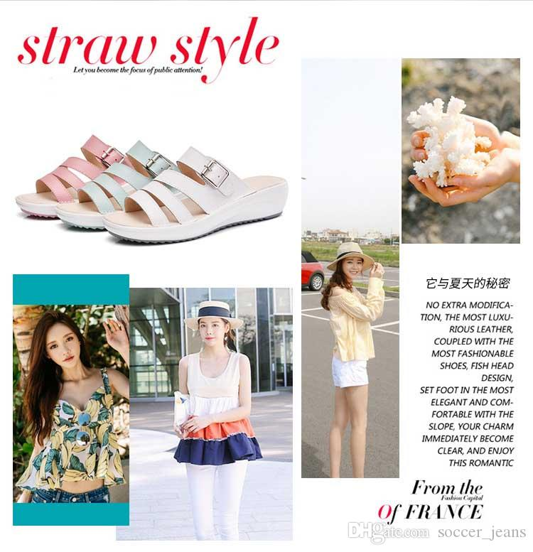 d5557e353106ae 2018 Summer New Style Outer Wear Sandals And Slippers Female Outdoor Fashion  Korean Version Of The Leather Flat Heel Shoes Flat Sandals Womens Boots  Work ...