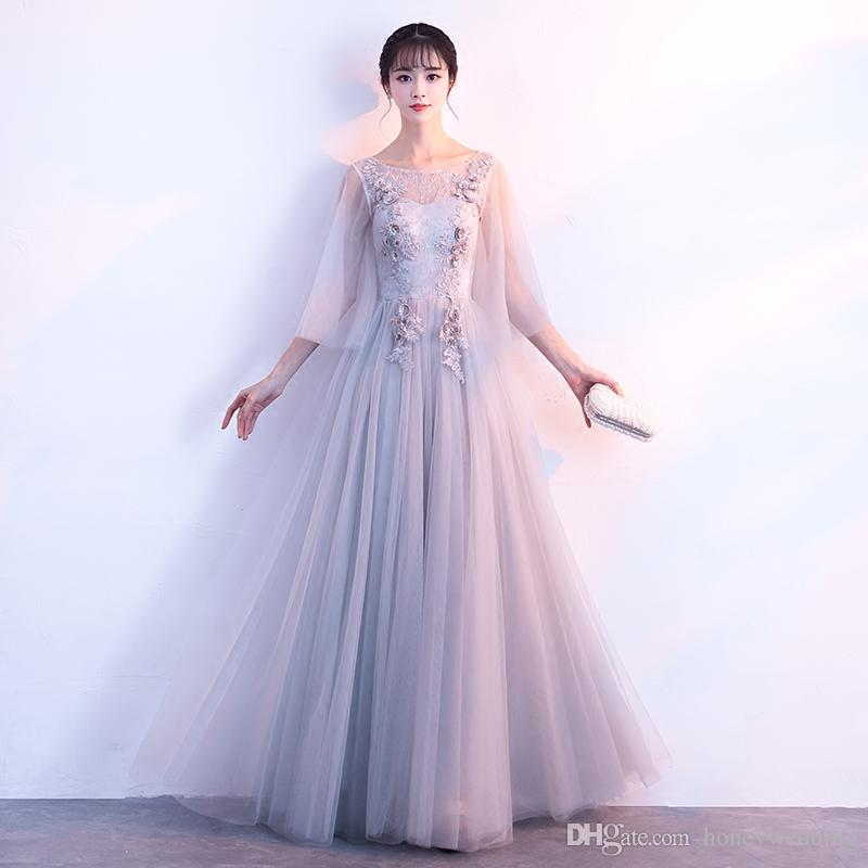 Elegant Long Prom Dresses Cheap 2018 New Lace Appliques Ruched Tulle