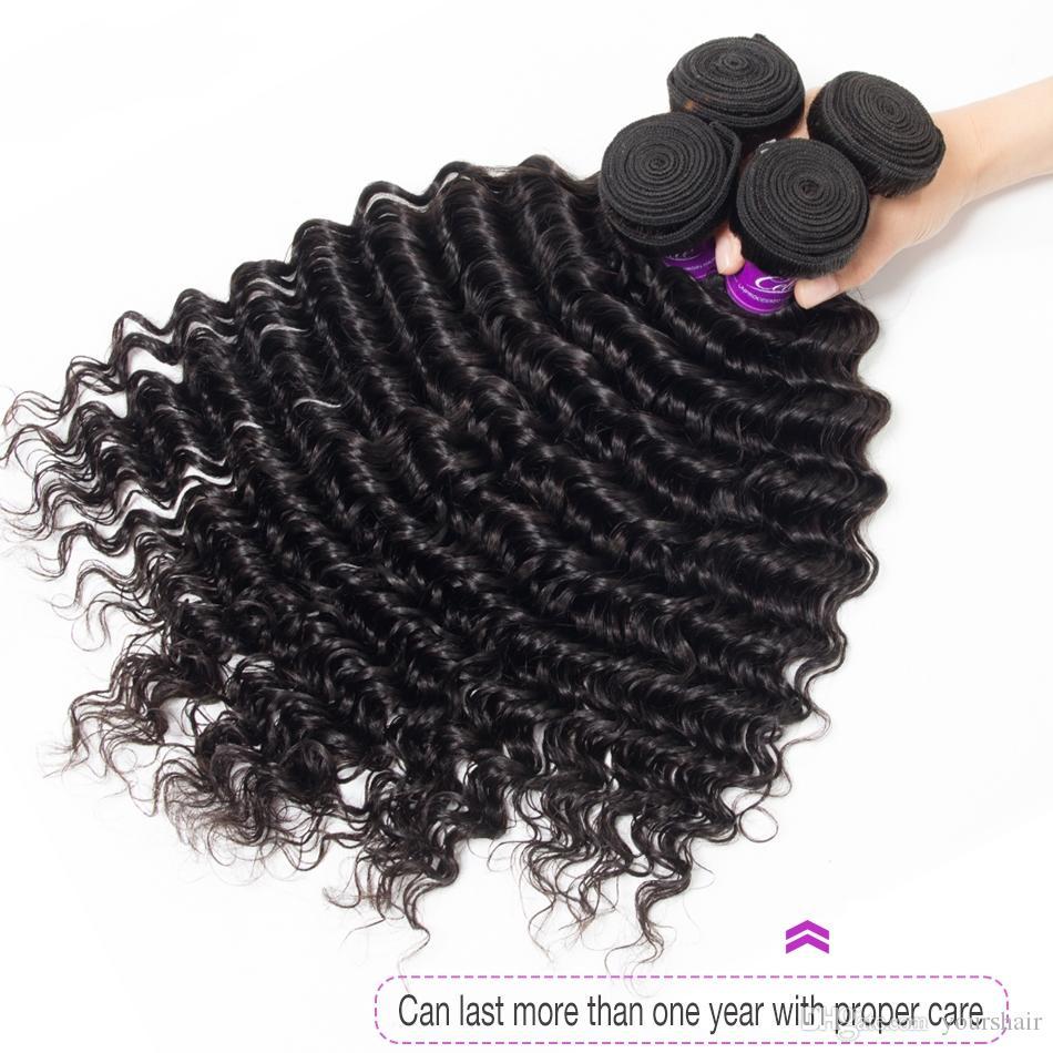 4bundles норки бразильский девственница глубокая волна волос ткать пучки 8-30 дюймов 100% Jet / натуральный черный глубокая волна человеческих волос расслоение сделок