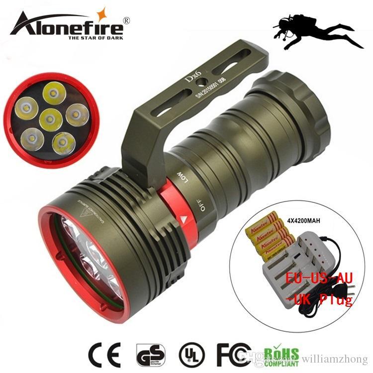 AloneFire DX6 Bright 6XCREE XM-L2 9000LM 200M LED Diving Flashlight L2 LED Light Lamp Lanterna Diving Torch for 18650 battery