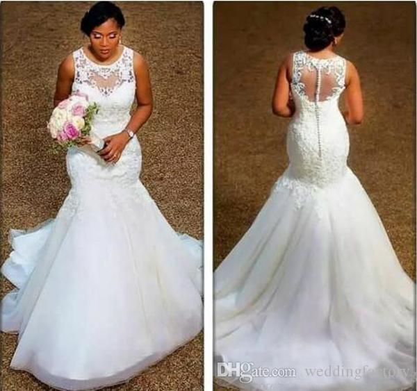 Elegant Mermaid Wedding Dresses Sheer Neck Appliques Lace Tulle Plus Size Wedding Dresses Cheap Bridal Gowns Illusion Back Made to Order