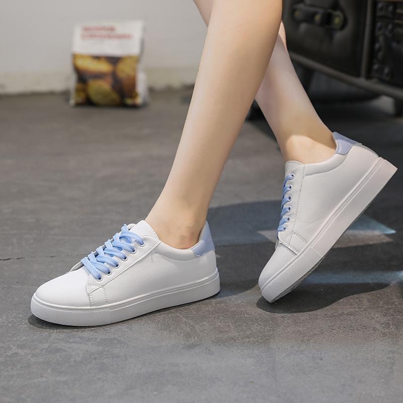 Acquista 2019 Donne Sneakers 2018 Scarpe Vulcanizzate Traspiranti Scarpe PU  In Pelle Con Plateau Scarpe Stringate Donna Casual Scarpe Da Tennis Bianche  ... 6fa27c9c163
