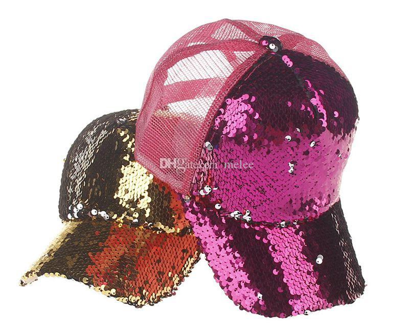 INS Pailletten Hüte Frauen Einstellbare Baseball Hüte Große Mädchen Sommer Bling Shinning Mesh Baseballmütze Weibliche Glitter Party Club Hut Zubehör