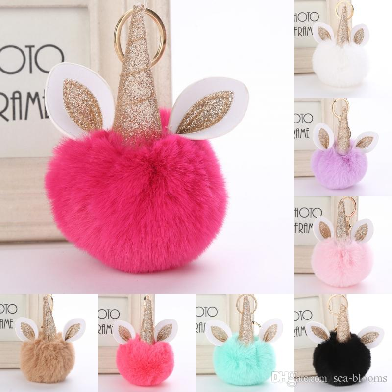 Free DHL Unicorn Pom Pom Keychain Artificial Rabbit Fur Ball Key Chain  Women Bag Car Keyring Fluffy Sequin Unicorn Fur Ball Keychains G254Q Key  Chain Key ... 6760b0487fae2