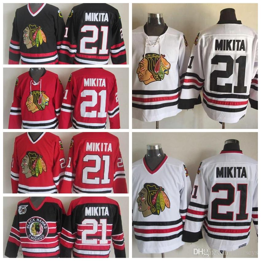 2019 Old Time Chicago Blackhawks Hockey Jerseys Mens  21 Stan Mikita Home  Red White Vintage Stan Mikita 75th Anniversary Black Stitched Jersey From  ... c4582ee30
