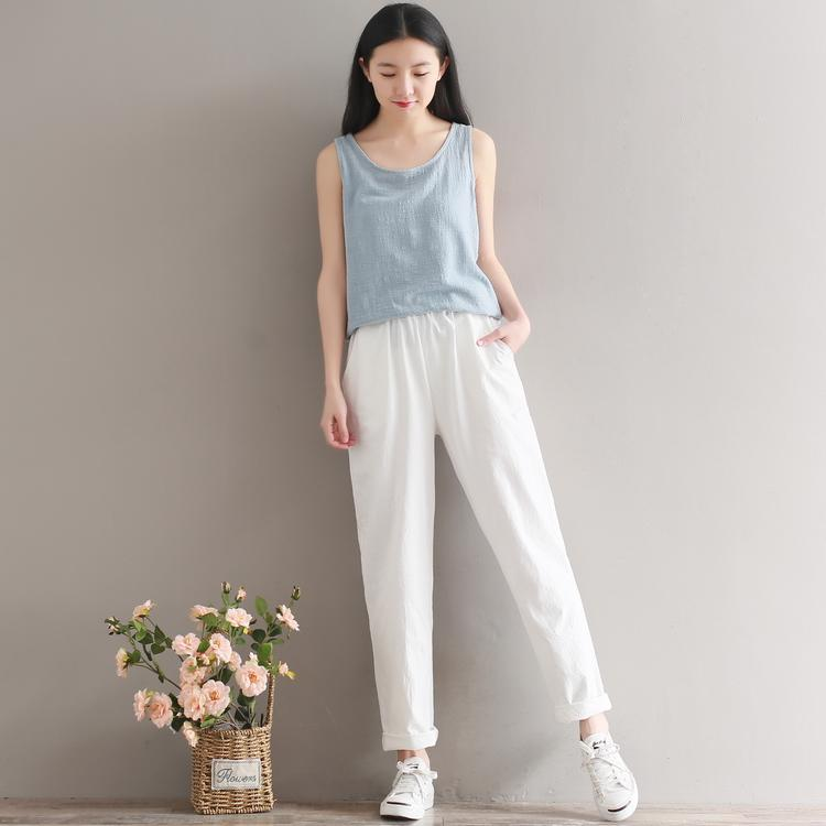 Solid Elastic Waist Linen Cotton White Women Pants Loose Casual Summer Harem Pants Women Brand Design Full Length Trousers