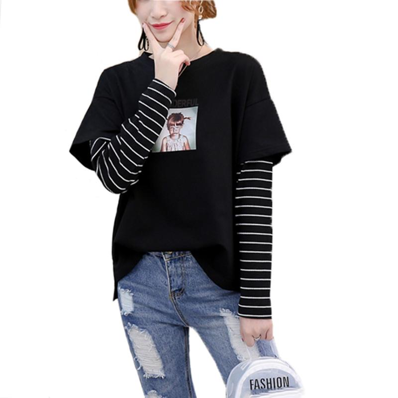 52062b970e New Patchwork Stripe Sleeve Fake Two Women'S Tops Spring Autumn Cartoon Printed  T Shirt Long Sleeve O Neck T Shirt Fun Tee Daily Tee Shirts From  Illusory04, ...