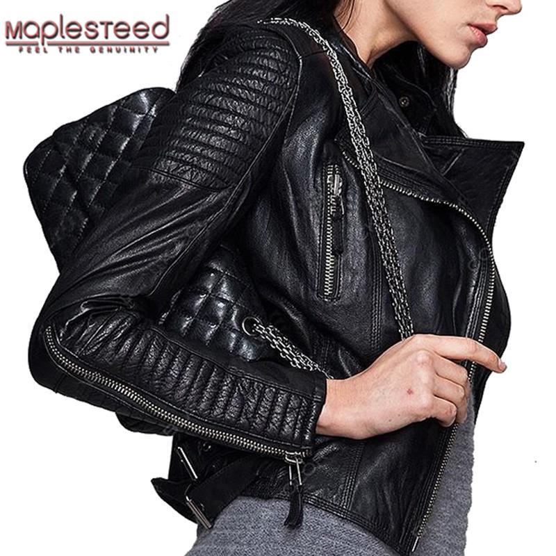 b90f6ff410f 2019 Wholesale MAPLESTEED Genuine Leather Jacket Women Leather Jacket  Sheepskin Black Soft Slim Fit Punk Bomber Female Leather Coat Autumn 049  From Buxue