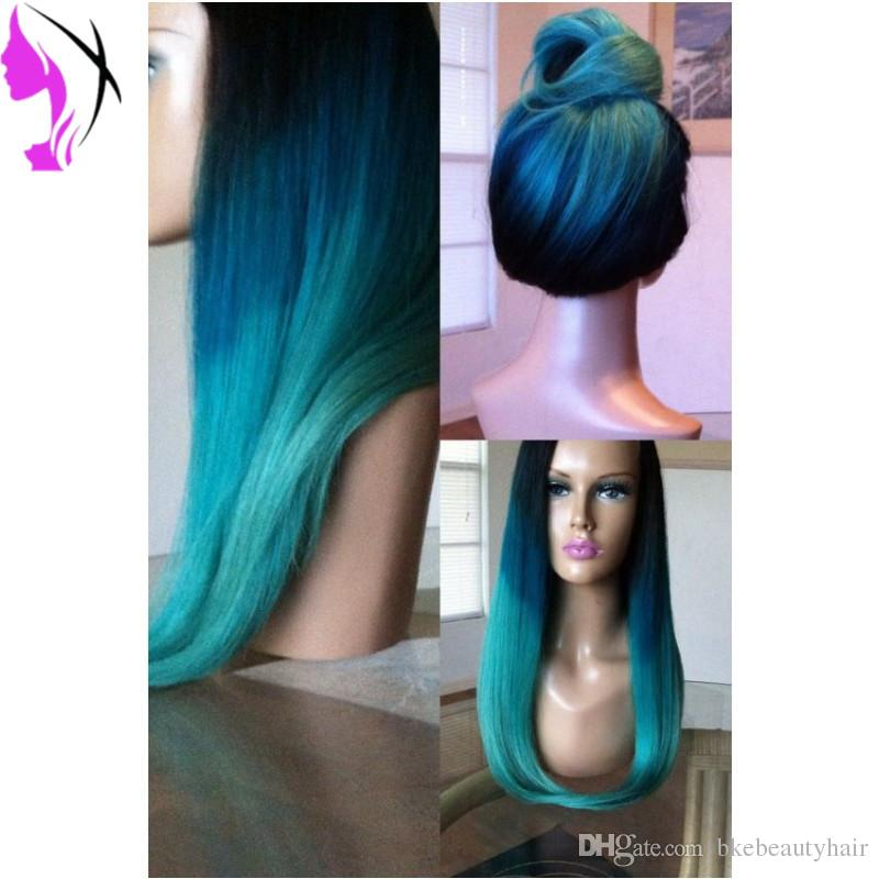 Cosplay wig black and white Women style Synthetic Lace Front Wig Straight Ombre Blue Color wigs natural hairlien
