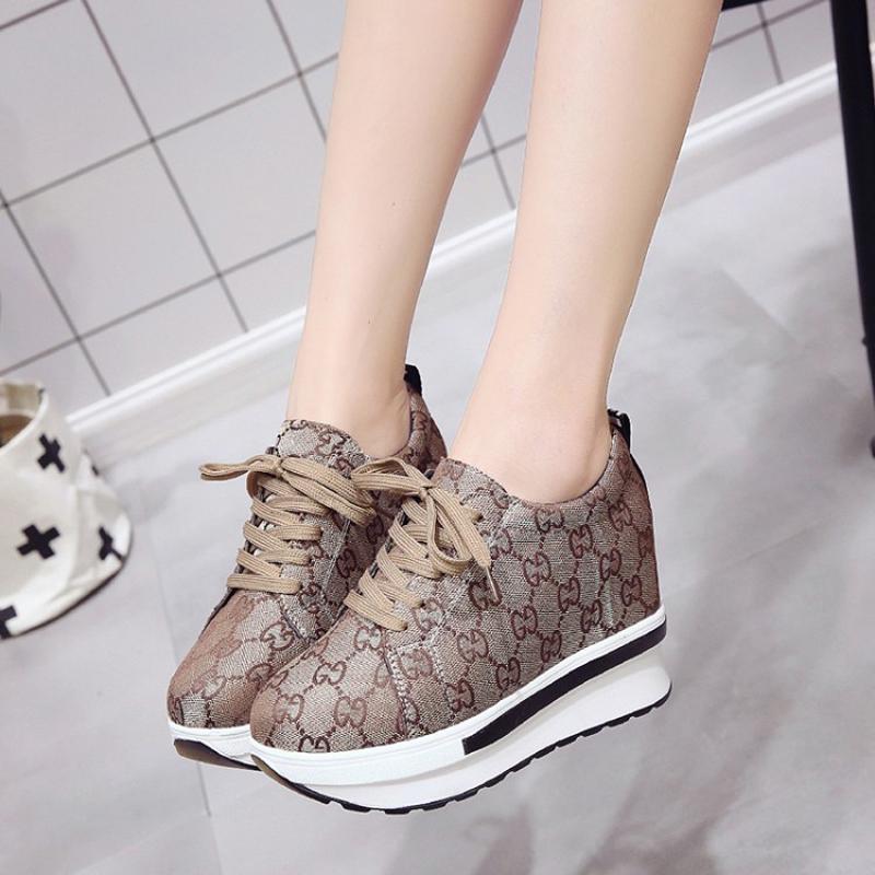 48f581c5 Compre Tacones Altos Otoño Wedge Sneaker Marca Zapatillas Mujeres Plataforma  De Aumento De Altura Zapatos Para Caminar Zapatillas Deportivas Mujer A  $33.26 ...
