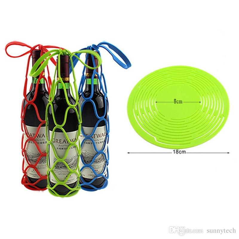 Multifunction Silicone Insulation Mat Placemat Drink Glass Coaster Tray Wine Bottle Basket Bottle Bag for Picnic LZ1599