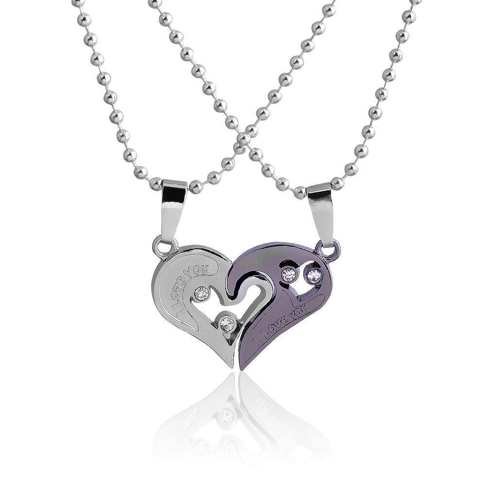 bdcc206fee Wholesale Creative Fashion Love Heart Pendant Necklace For Women Men Charm  Valentine Lovers Couple Necklaces Jewelry Gift Silver Jewellery Online  Diamond ...