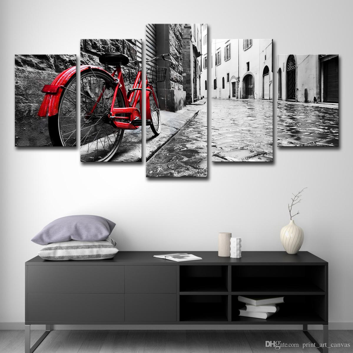 Quadro moderno dipinto su tela Quadro su tela Picture Decor 5 Panel Red  Bicycle Lean Against Wall Stree HD Print Poster