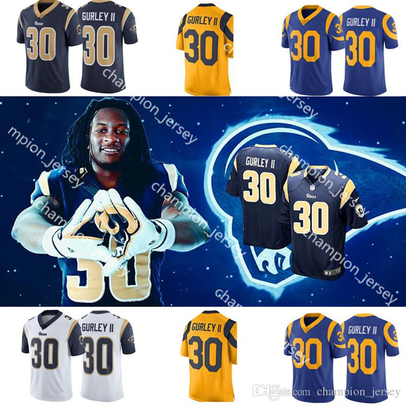 promo code 2d98c 47774 Mens #30 Todd Gurley II Los Angeles Rams Jerseys embroidery Logos 99 AARON  DONALD 16 JARED GOFF Jersey hot sale Free Shipping