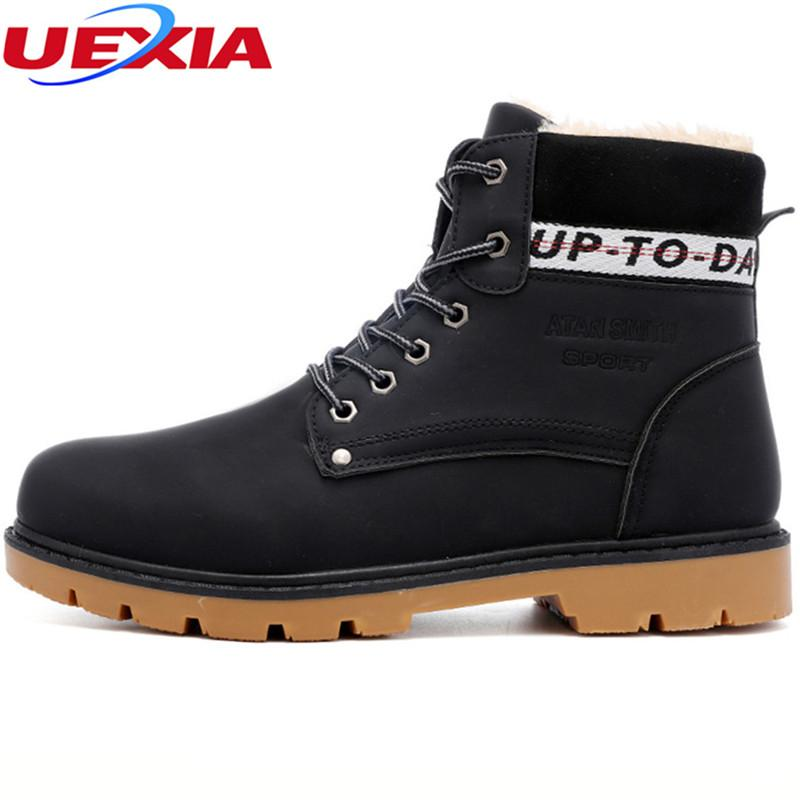 UEXIA Mens Work Boots Durable Winter Shoes No Slip Casual Mens Safety Boots  Winter Outdoor Cotton Fur Walking Sneakers Zapatos White Boots Black Boots  For ... 16fee72d8d22
