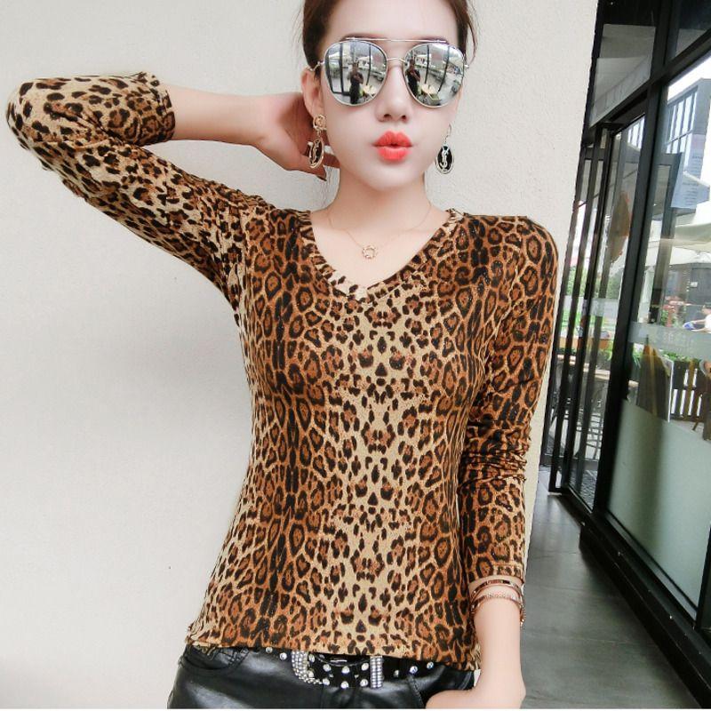 991005c7a2b1f1 Großhandel 2018 Sexy Damen Leopard Print Bluse Frauen V Ausschnitt LangarmBlusen  Damen Tops Plus Size Shirt Frauen Blusas Chemise Femme Von Sweatcloth, ...