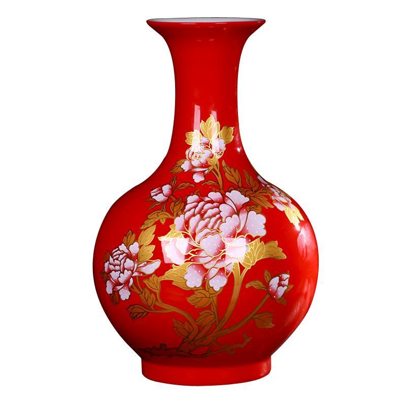 Jingdezhen Ceramics Modern China Red Peony Vases Flower Receptacle