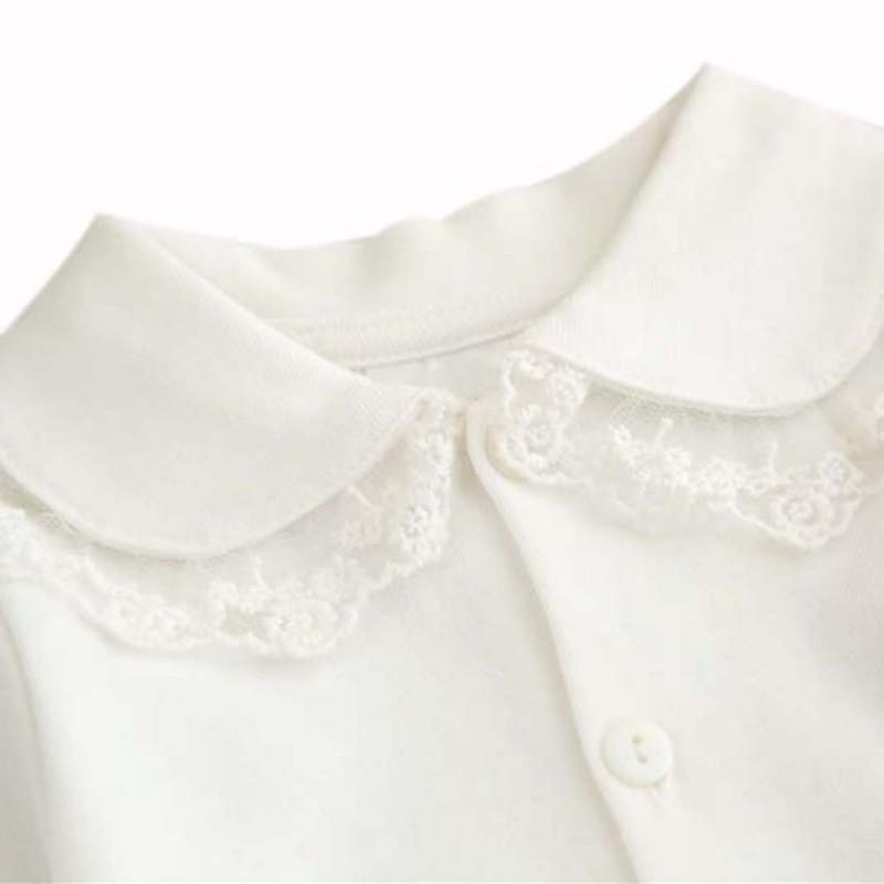 075276ff5 0-24M Bebé Niña Cuello redondo de manga larga Blusa de encaje Sólido Camisa  Niños Ropa Para Niñas Blanco Rosa Color